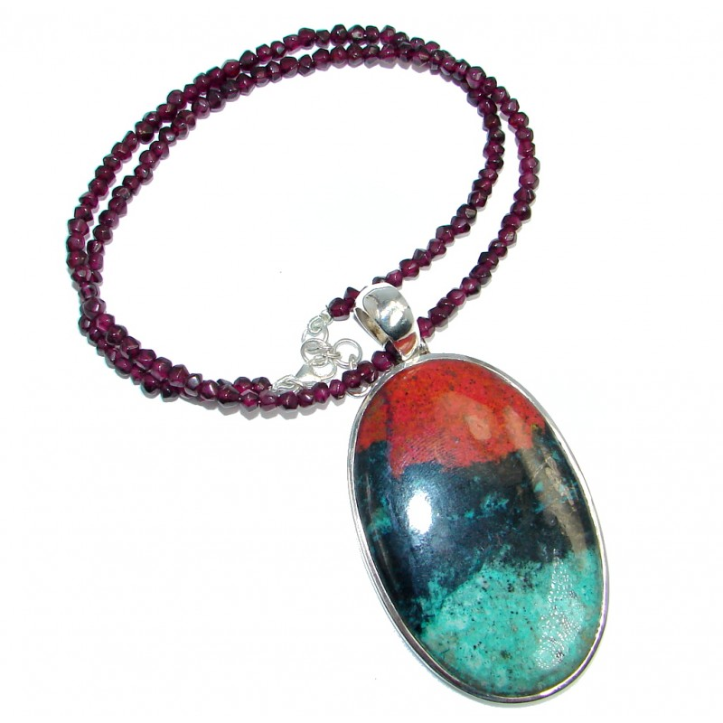 Massive Sunrise Sonora Jasper Tourmaline Sterling Silver handmade Necklace