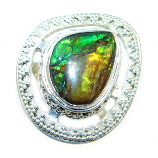 Authentic Canadian Fire Ammolite Sterling Silver ring size 7 1/4