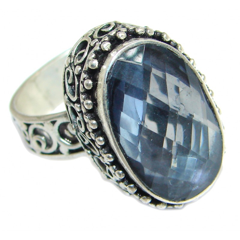Exotic Blue Rainbow Magic Topaz Sterling Silver Ring s. 8
