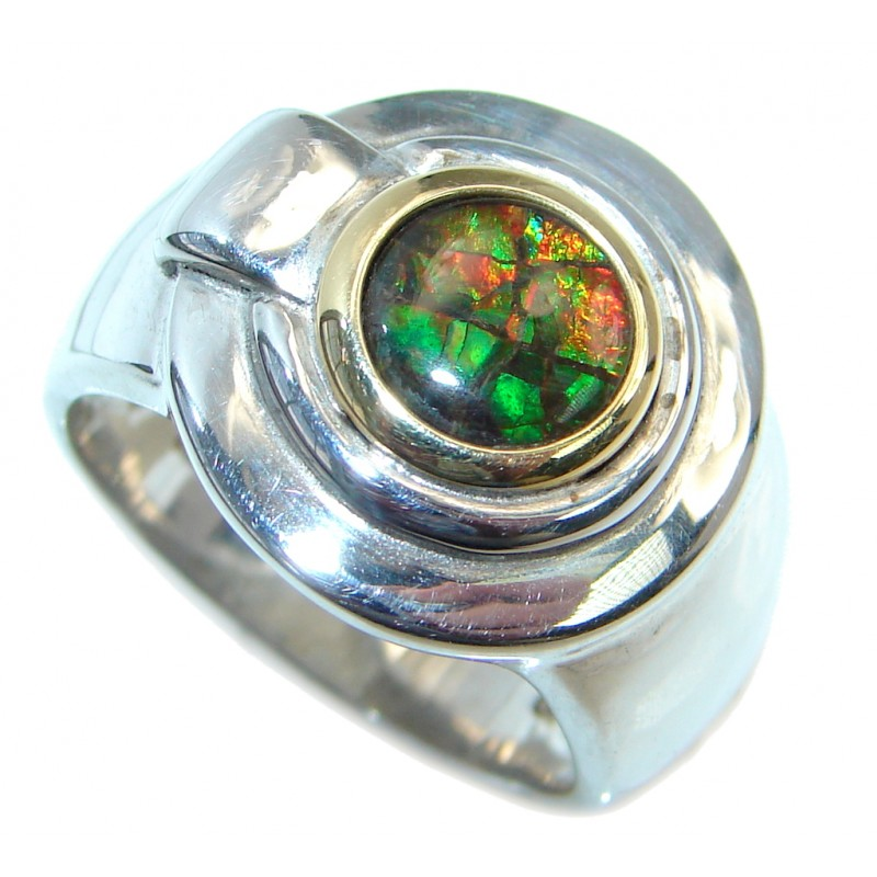 Authentic Canadian Orange Fire Ammolite Two Tones Sterling Silver ring size 7