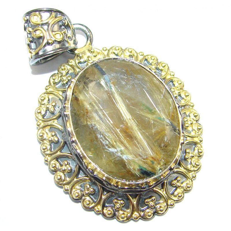Himalayan Treasure Golden Rutilated Quartz Gold plated over Sterling Silver Pendant