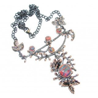 Exclusive Japanese Fire Opal Rose Gold Rhodium plated over Sterling Silver handmade Necklaces