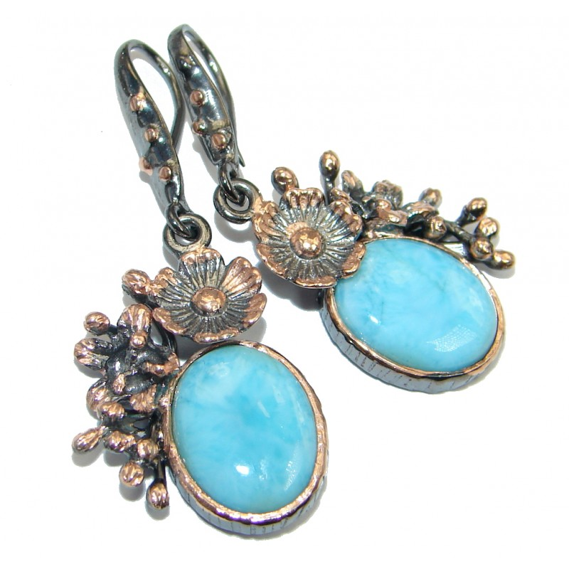 Vintage Style Blue Larimar Rose Gold plated with Sterling Silver handmade earrings