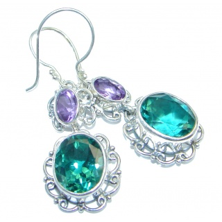 Lovely Green Quartz Sterling Silver handmade earrings