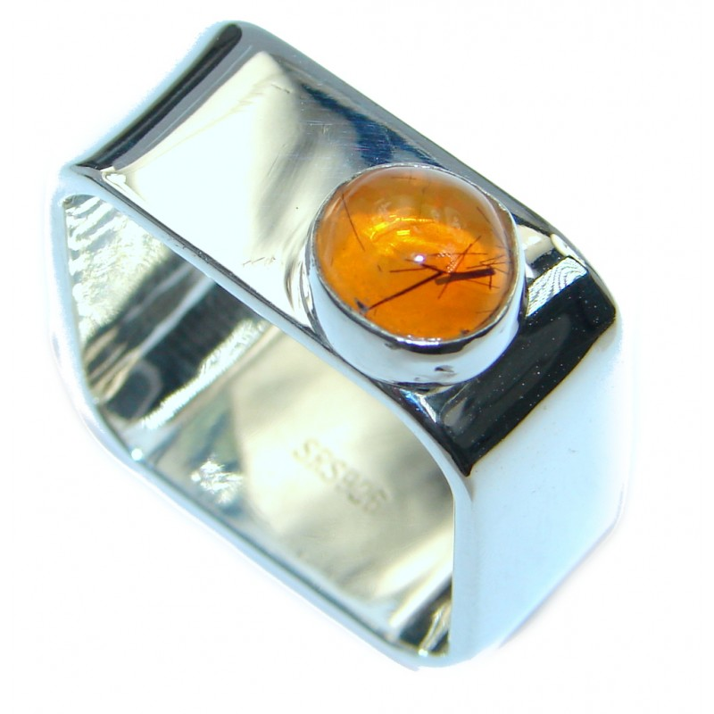 Mexican Fire Opal Oxidized Sterling Silver handmade Ring size 10