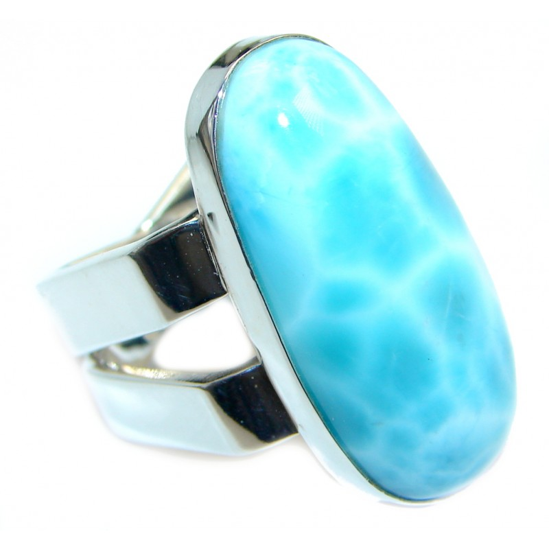 Unique Modern Style Blue Larimar Sterling Silver Cocktail Ring size 6