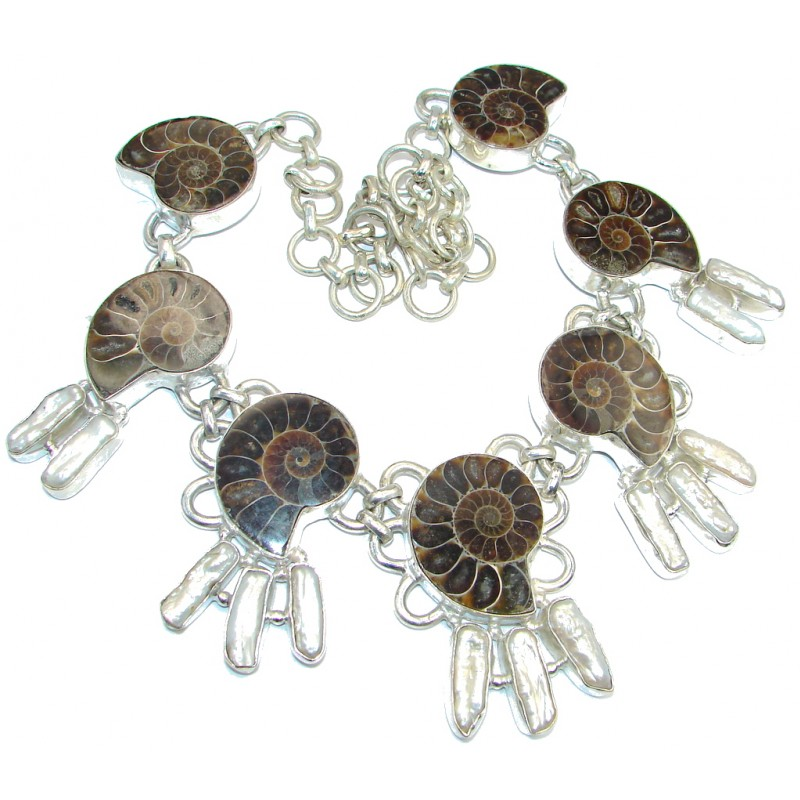 154.3g Aura Of Beauty genuine Ammonite Silver Tone handcrafted Necklace