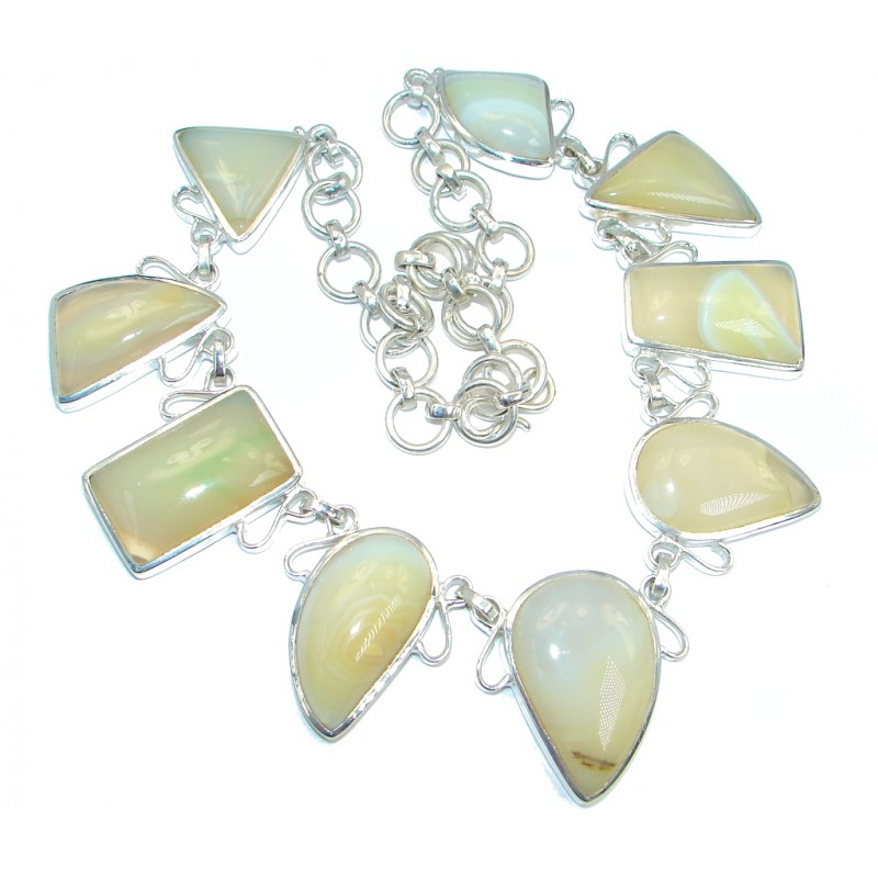 140.3g Aura Of Beauty genuine Botswana Agate Silver Tone handcrafted Necklace
