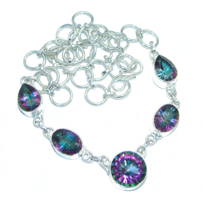 Magic Rainbow Quartz Silver Tone handcrafted Necklace