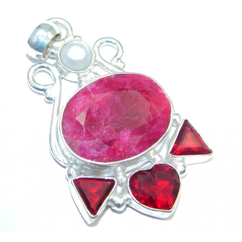 Victorian Style Ruby Silver Tone Pendant