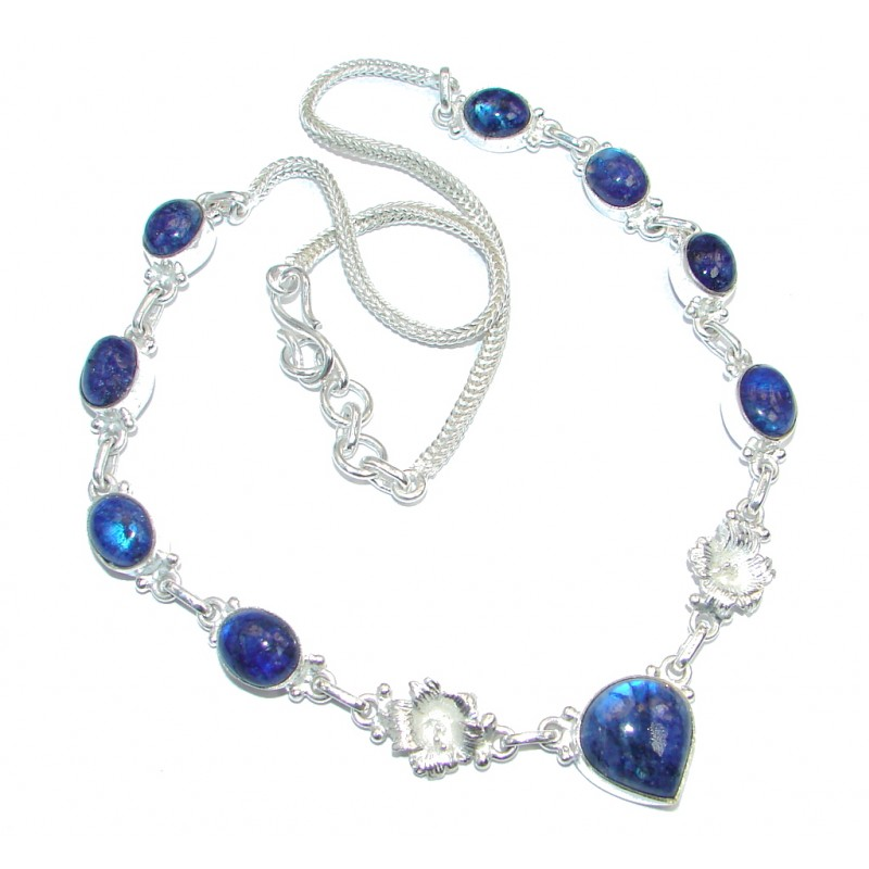 Rare Blue Moonstone Silver Tone handcrafted Necklace