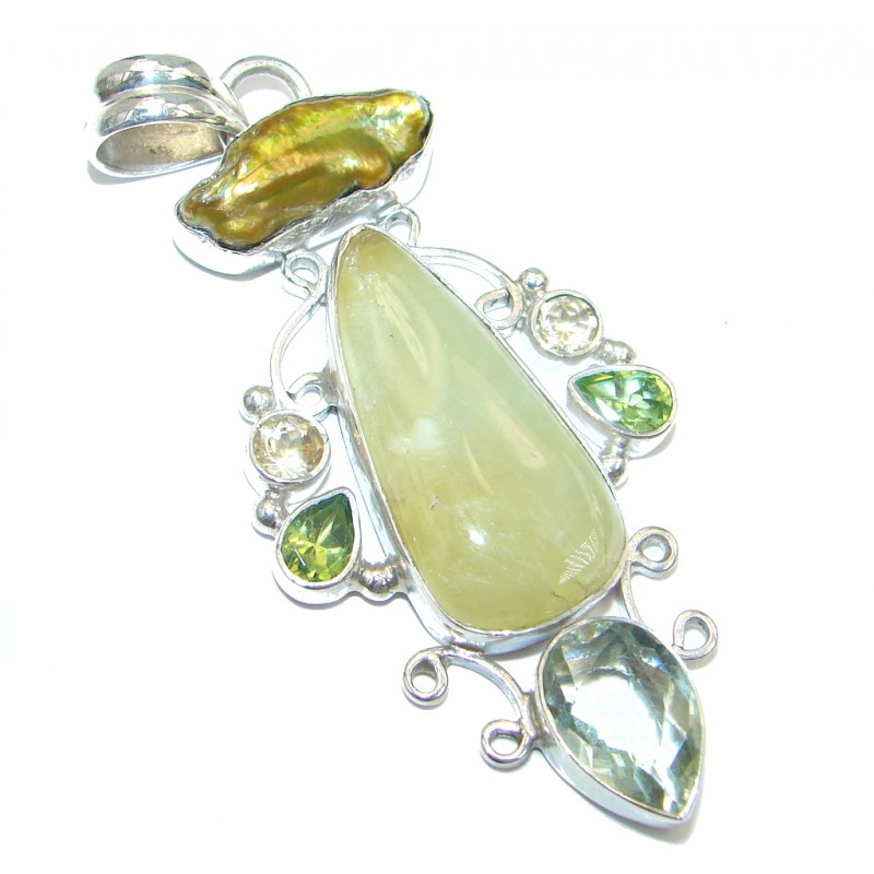 Genuine Top quality Green Moss Prehnite Sterling Silver handmade Pendant