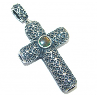 Canadian Ammolite Fossil Sterling Silver handcrafted Pendant / Cross