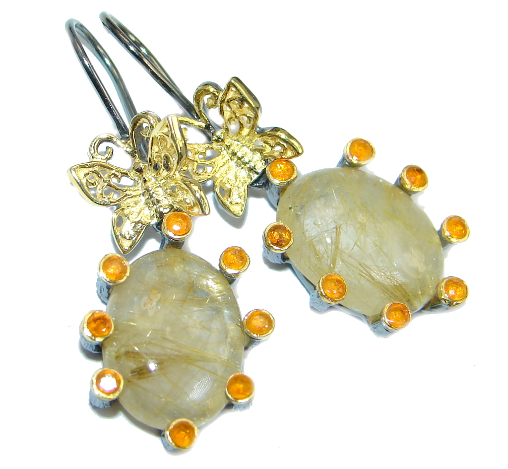 Golden Rutilated Quartz Jewelry Of Perfect Golden Rutilated Quartz Sapphire Gold Plated Over