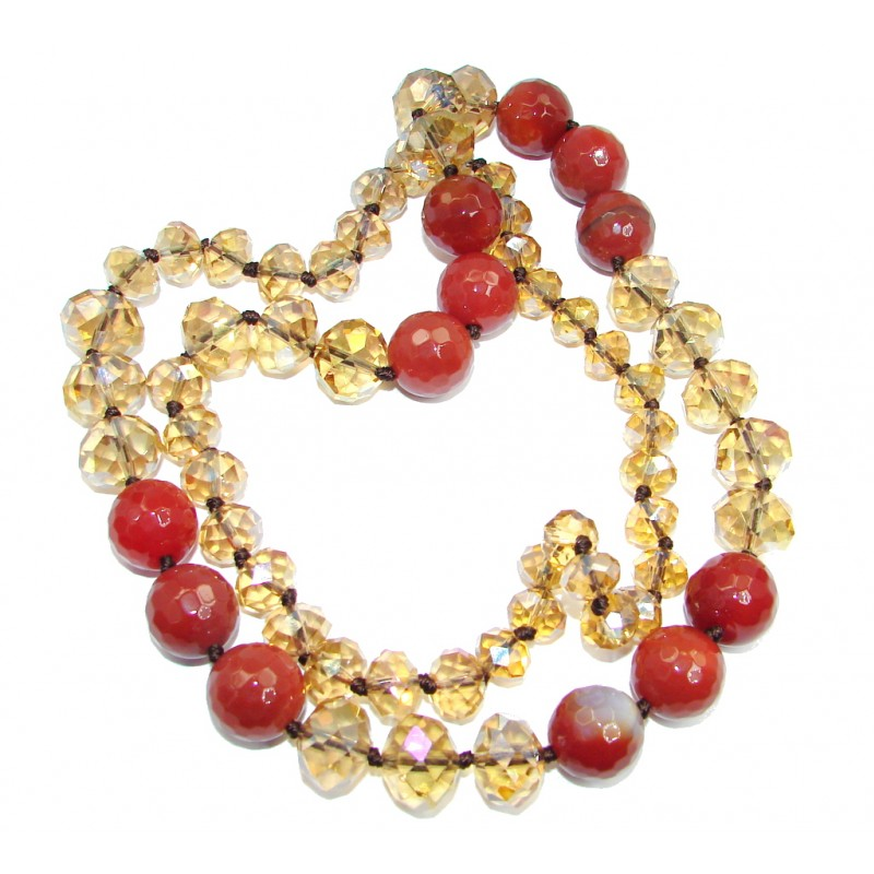 165.5 grams Rare Unusual Natural Mexican Fire Agate Beads Strand Necklace