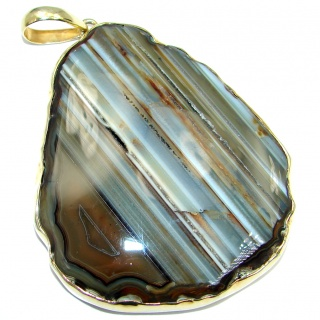 Huge 65.5 grams! Botswana Agate Gold plated over Sterling Silver handcrafted Pendant