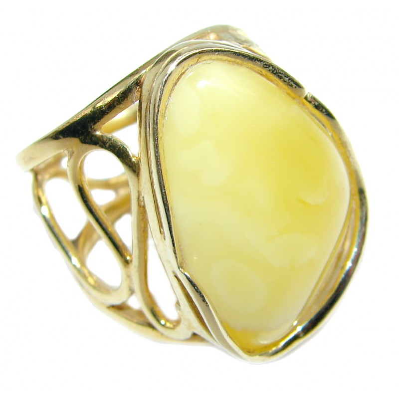 Genuine Butterscoth Baltic Polish Amber Gold plated over Sterling Silver handmade Ring size adjustable