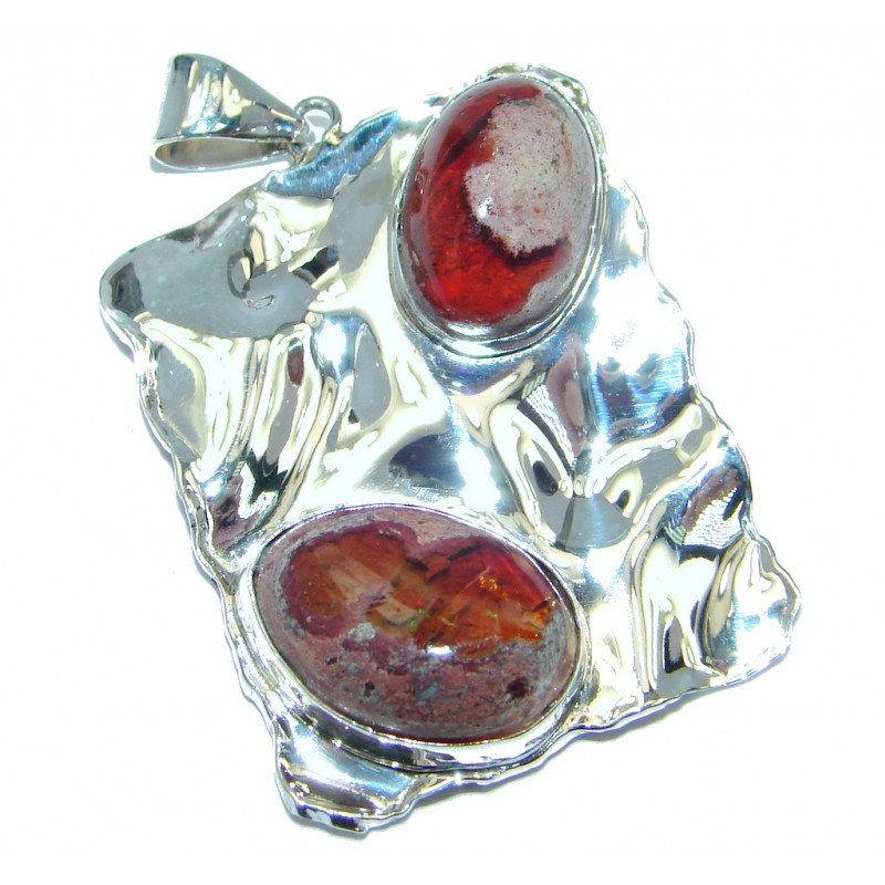 Beautiful Ammolite Australian hammered Sterling Silver handmade Pendant