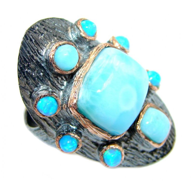 Vintage Style Larimar Rose Gold Rhodium plated over Sterling Silver Ring size 6