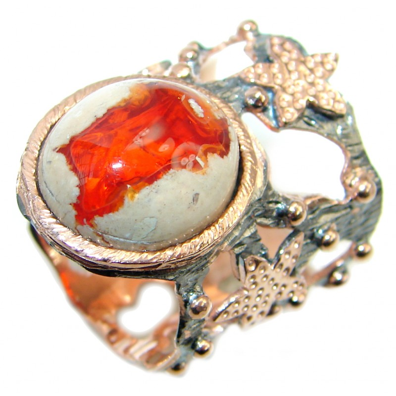Mexican Fire Opal Rose Gold plated over Sterling Silver handmade Ring size 7