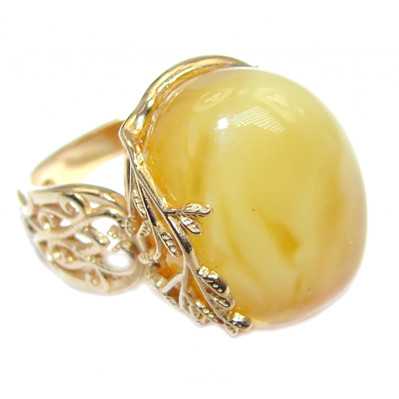 Genuine Butterscoth Baltic Polish Amber Rose Gold plated over Sterling Silver handmade Ring size adjustable