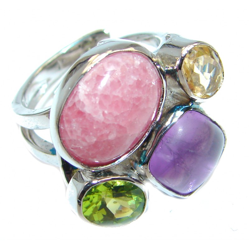 Amazing Pink Rhodochrosite Sterling Silver Ring size adjustable