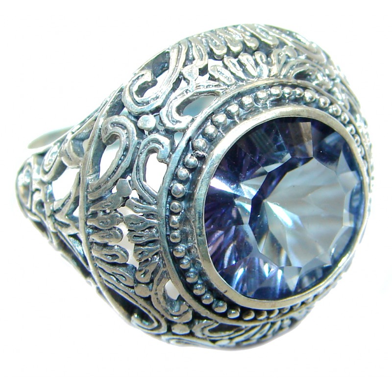 Exotic Blue Rainbow Magic Topaz Sterling Silver Ring s. 7