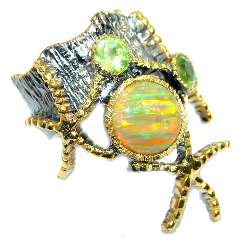 Japanese Fire Opal Gold plated over Sterling Silver ring size 5