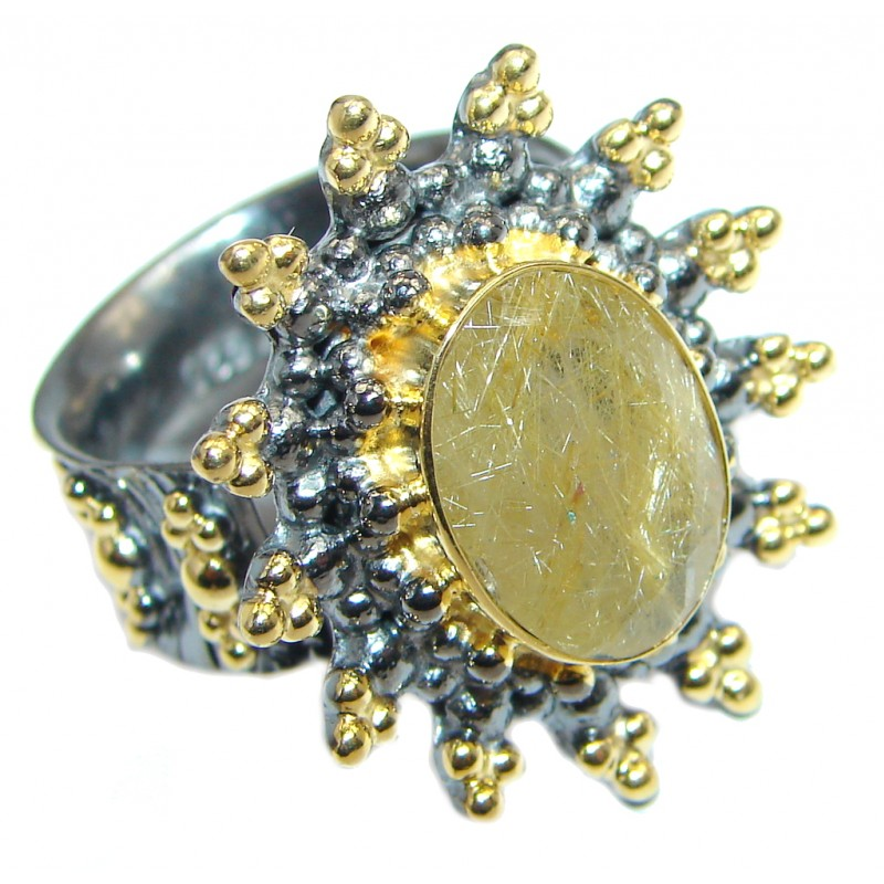 Golden Rutilated Quartz Gold plated over Sterling Silver handmade Ring size adjustable