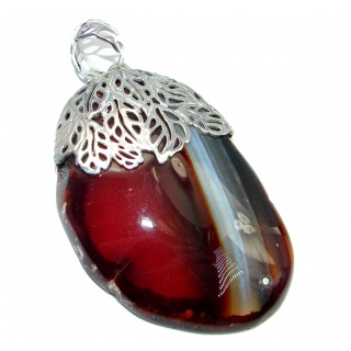 Cognac Color Botswana Agate Sterling Silver handmade Pendant