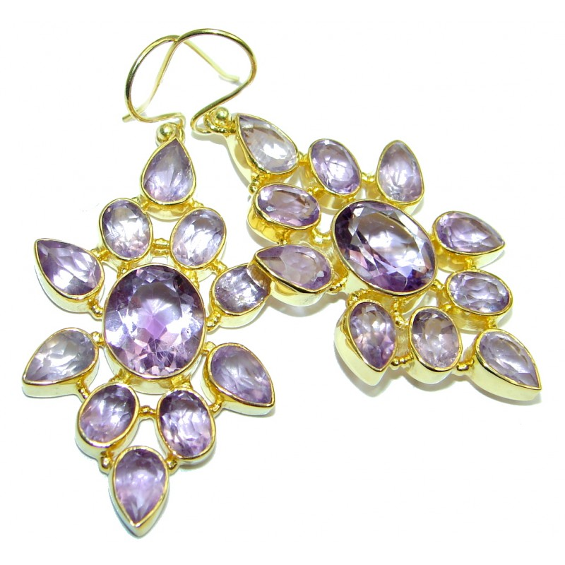 Large Genuine Amethyst Gold plated over Sterling Silver Handcrafted earrings