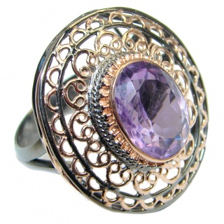 Genuine Amethyst Rose Gold Rhodium plated over Sterling Silver handmade ring size adjustable