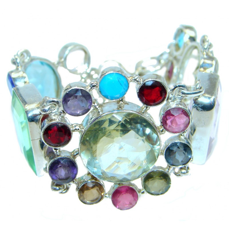 Secret Floral Beauty created Glass Sterling Silver handmade Bracelet