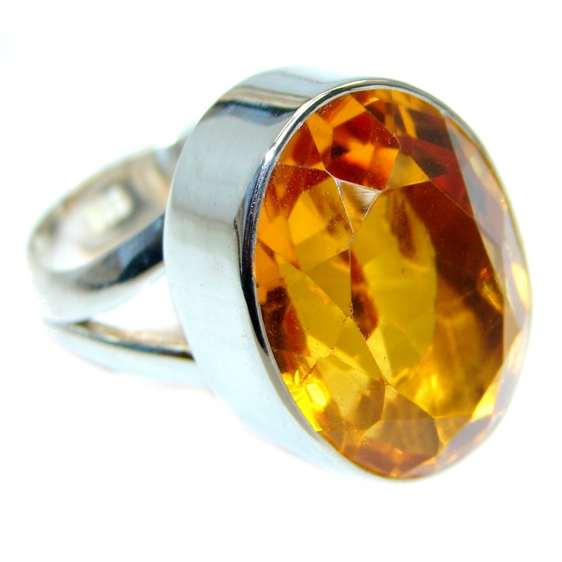 created Citrine Sterling Silver handmade ring size adjustable