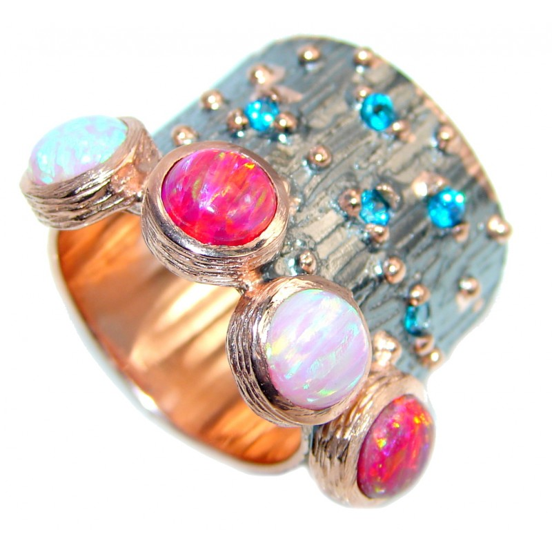 Japanese Fire Opal Rose Gold Rhodium plated over Sterling Silver ring size 5