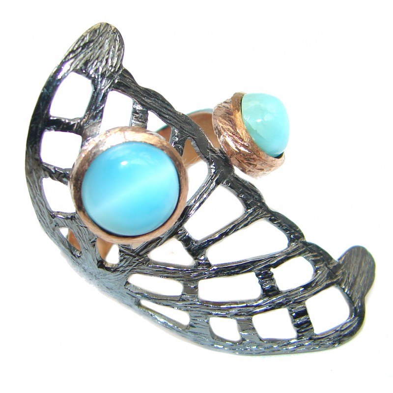 Modern Larimar Rose Gold Rhodium plated over Sterling Silver Ring size adjustable