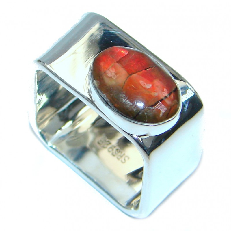 Unisex Rainbow Fire Ammolite Sterling Silver ring s. 7