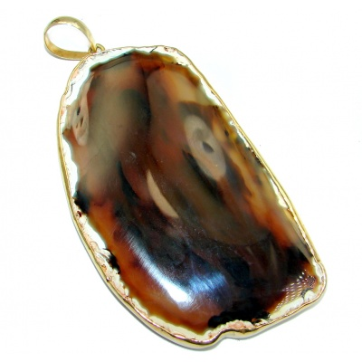 Huge 78.5 grams! Botswana Agate Gold plated over Sterling Silver handcrafted Pendant