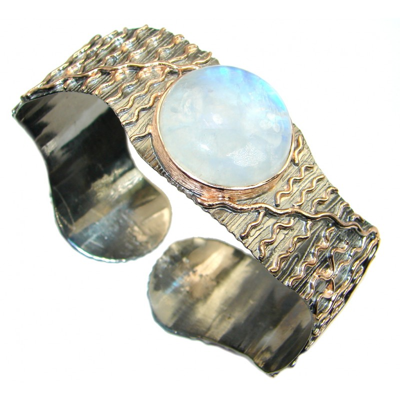 Real Treasure Fire Moonstone Rose Gold plated over Sterling Silver Bracelet / Cuff