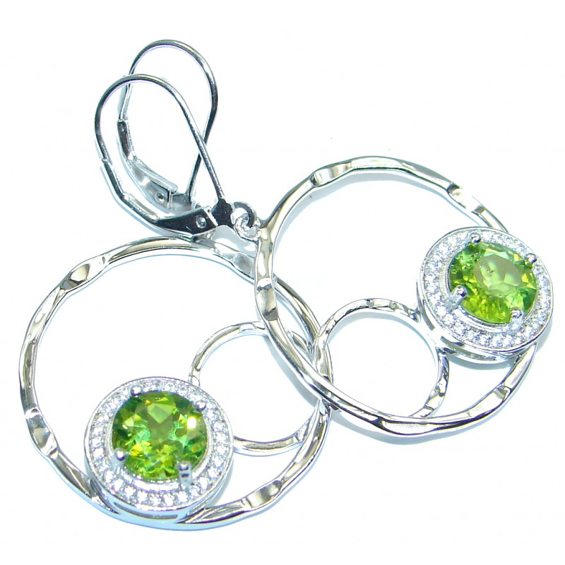 Modern Design Genuine Peridot Hammered Sterling Silver earrings