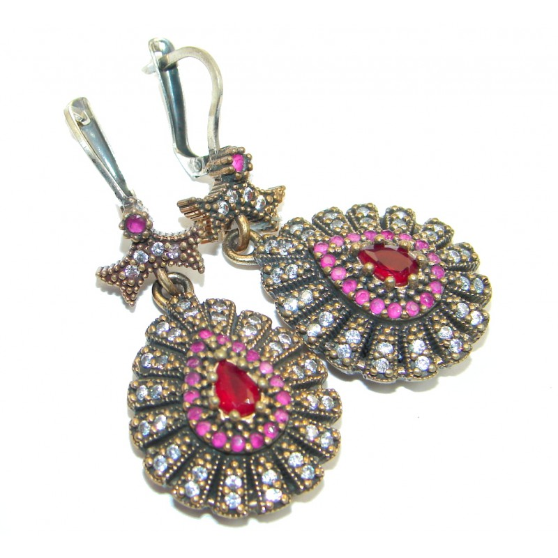 Huge Victorian Style created Red Ruby Sterling Silver earrings