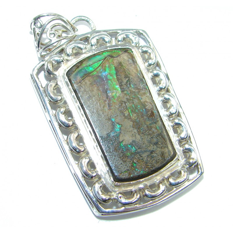 Natural Red Fire Ammolite hammered Sterling Silver Pendant