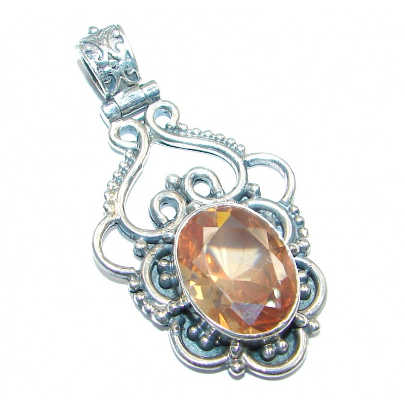 Great Cubic Zirconia Marcasite Sterling Silver Pendant