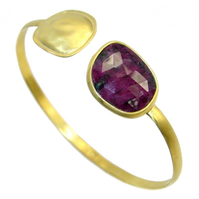 Luxury natural Ruby Gold plated over Sterling Silver Bracelet