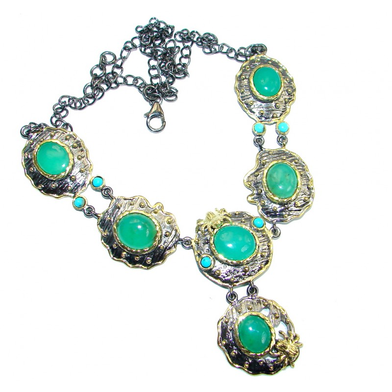 Tropical Beauty genuine Moss Prehnite & Sleeping Beauty Turquoise Gold plated over Sterling Silver necklace