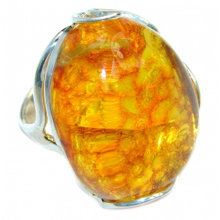 Chunky Genuine Baltic Polish Amber Sterling Silver handmade Ring size adjustable