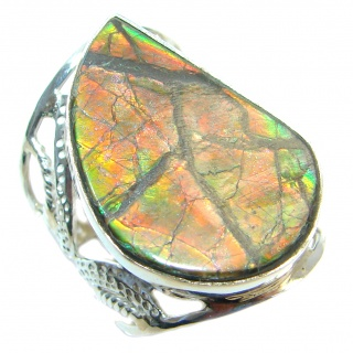 Authentic Canadian Red Fire Ammolite Sterling Silver ring size 10