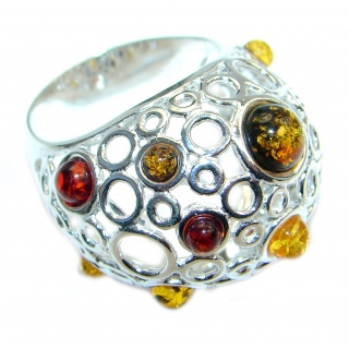 Chunky Genuine Baltic Polish Amber Sterling Silver handmade Ring size 9