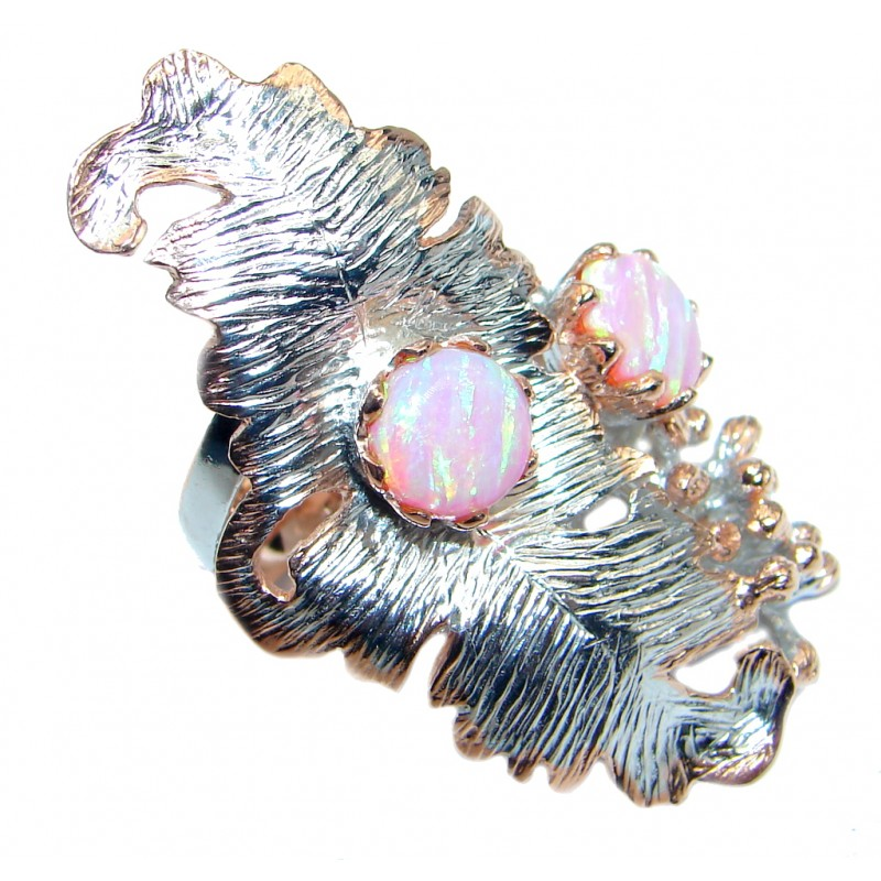 Silver Leaf Japanese Fire Opal Rose Gold plated over Sterling Silver ring s. 8