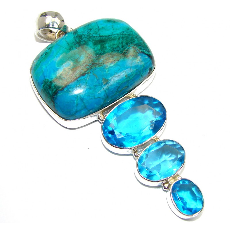 Big Stone Of Harmony AAA quality Green Chrysocolla Sterling Silver handmade Pendant
